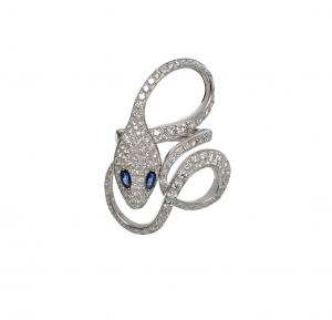Anello Malafemmina in oro bianco, diamanti e zaffiri