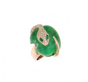 Anello Malafemmina in oro rosa, diamanti, giada e smeraldi