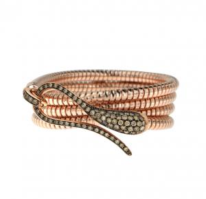 Bracciale tubogas con chiusura in oro rosa e diamanti brown