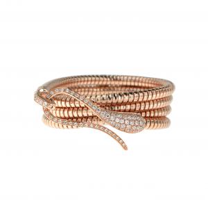 Bracciale tubogas con chiusura in oro rosa e diamanti