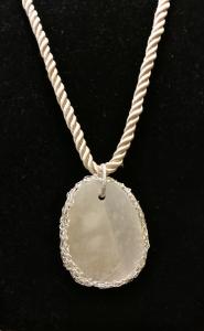 Collana con medaglione in Alabastro - Wire Crochet