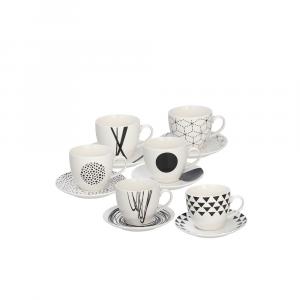 Confezione 6 Tazzine Caffè Con Piattino Metropolis Graphic