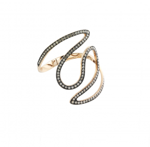 Bracciale Cuff in oro rosa e diamanti brown