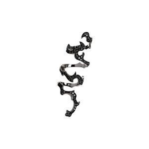Anello lungo snodato in oro nero e diamanti neri