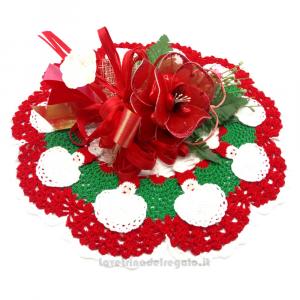 Centrino natalizio Babbo Natale ad uncinetto e Fiori confetti Sulmona - Handmade - Italy