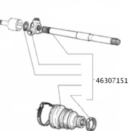 Semiasse sinistro Lancia Y 1.2 16V, 46307151,