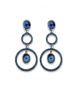 Medium Earrings in blue rhodium white gold and blue sapphires