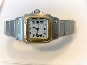 Orologio secondo polso Cartier Santos acciaio/oro