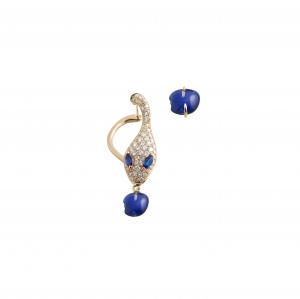 Monorecchino Malafemmina in oro rosa, diamanti, lapis e zaffiri blu