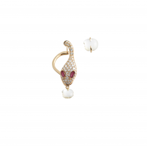 Single earring in rose gold, diamonds, mother of pearl and rubies