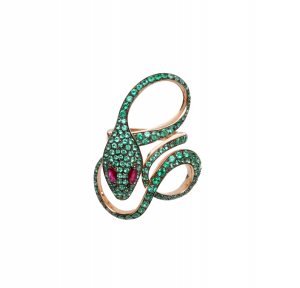 Anello Malafemmina in oro rosa,smeraldi e rubini