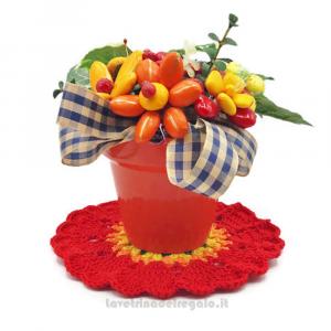 Centrino ad uncinetto 16,5 cm e vaso con Fiori di confetti Sulmona - Handmade - Italy