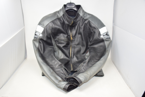 Jacket Leather Motorcycle Black Gray Brand Clover Tg L