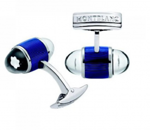 GEMELLI MONTBLANC CUFF LINK UW COOL BLUE PP W BLUE LACQUER
