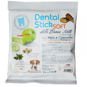 DENTAL-STICK SOFT FRAGOLA E SALVIA 100Gr - MELA E CAMOMILLA DALLA GRANA
