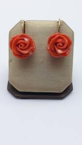 Orecchini Bocciolo di Rosa in Corallo e oro, vendita on line | GIOIELLERIA BRUNI Imperia