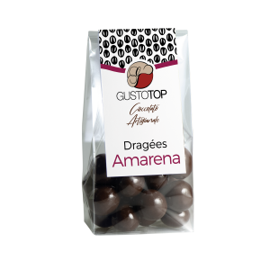 Confezione di Dragèes da 90 grammi, ciliegia ricoperta di cioccolato fondente