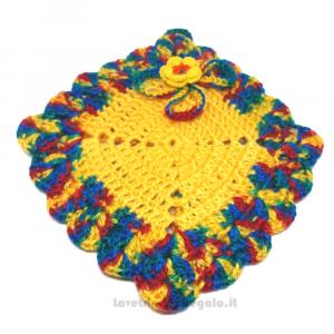Presina quadrata gialla ad uncinetto 15x15 cm Handmade - Italy