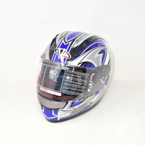 Helmet Motorcycle V-maxblue Silver