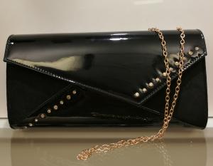 Clutch nera ampia e comoda | Pochette pelle lucida online