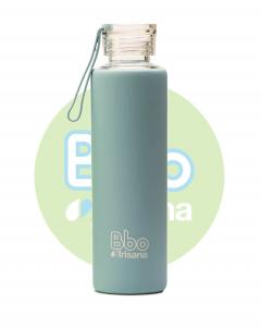 Botella Bbo Azul Borosilicato Con Silicona 550ml Irisana