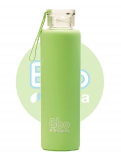 Botella Bbo Verde Borosilicato Con Silicona 550ml Irisana