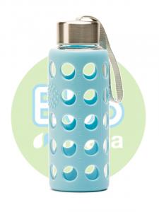 Botella Bbo Azul Borosilicato Con Silicona 300ml Irisana