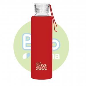 Botella Bbo Roja Borosilicato Con Silicona 550ml Irisana