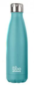 Botella Bbo Termo Acero Inoxidable 500ml Turquesa y Funda Irisana