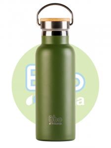 Irisana Botella Bbo Termo Con Tapon Bambu 500ml Acero