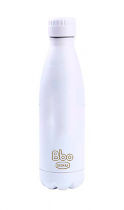Irisana Botella Bbo Termo Acero Inoxidable 500ml Blanco Con Mosqueton