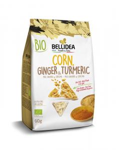 Bellidea Snack Crujiente Maiz Jengibre y Curcuma 60g