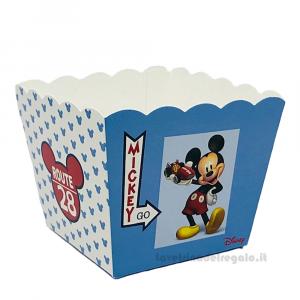 Vaso portaconfetti e dolci Mickey Go Route 28 Azzurro Disney 7x7x7 cm - Scatole battesimo bimbo