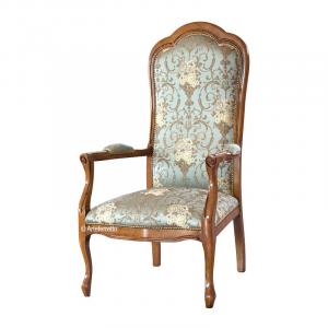 Upholstered armchair in solid wood, Voltaire style