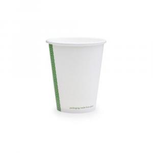 Bicchieri biodegradabili cartoncino 240ml bianchi serie green stripe