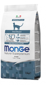 MONGE NATURAL SUPERPREMIUM GATTO STERILISED TROTA