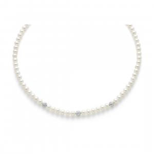 Collana Miluna di Perle e Oro Bianco