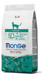 MONGE NATURAL SUPERPREMIUM GATTO HAIRBALL POLLO