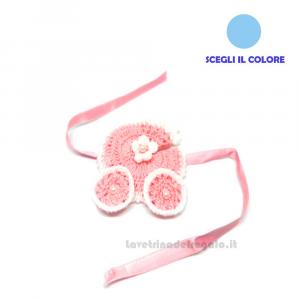 Portaconfetti carrozzina rosa ad uncinetto 7x8 cm - Sacchetti battesimo