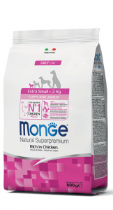 MONGE EXTRA-SMALL PUPPY AND JUNIOR RICCO DI POLLO 800G