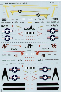 Douglas A-4E Skyhawk (2) 150001 AJ/500 VA-152 CAG USS Shangri-La; 152033 NF/411 VA-94 'Sassy Sue' USS Bon Homme Richard 1969