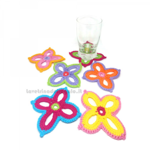 Set 6 pz - Sottobicchiere fiore hawaiano ad uncinetto 10x10 cm Handmade - Italy