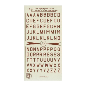 RAF CODE LETTERS. DULL RED. 24
