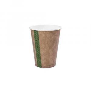 Bicchieri biodegradabili cartoncino 240ml avana serie green stripe