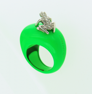 Anello Happy Frog in cataforesi Fluo, oro bianco e diamanti