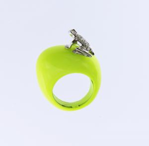 Anello Happy Frog in cataforesi Fluo giallo, oro bianco e diamanti