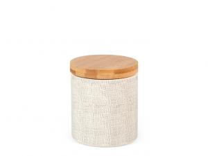 Barattolo in porcellana decorata da 1 litro con coperchio in legno