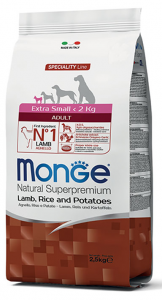 MONGE EXTRA-SMALL ADULT AGNELLO, RISO E PATATE