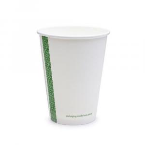 Bicchieri biodegradabili cartoncino 360ml SLIM bianchi serie green stripe