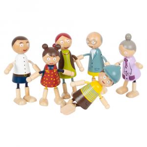 Famiglia di bambole pieghevoli in legno